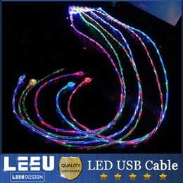 Wholesale Led Iphone Sync Charger Cable - 1M Brilliant Lighting Charging Cable double color Flow Stream LED Light Micro V8 Apple USB Charger Data Sync Cable For samsung s7 iphone 6 5