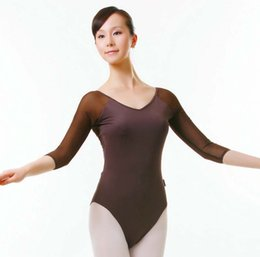 Wholesale Sexy Teacher Costumes - Adult Ballet Practice Clothing 3 4 Sleeve Sexy Dedicated Teachers And students Ballet Dance Costume 2016 Cheap Ballet Leotard