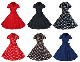 Wholesale Prom Dress Size Xs - Cheap Prom Dress V-neck Short Sleeves Retro Vintage 1950s 60s Short Party Dress Big Plus Size Cocktail Dress with Belt estidos De Noche