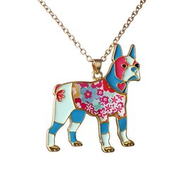 Wholesale Chain Wholesale Clothes - Color dog jewelry necklace simple fashion ladies sweater chain zodiac pendant necklace colorful clothing accessories