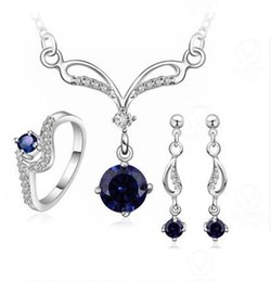 Wholesale Wholesale Blue Jewelry - Fashion 925 silver plated jewelry sets Noble Necklace Earrings ring Sets Purple Blue White Austrian Element Crystal 4 color to choose S717