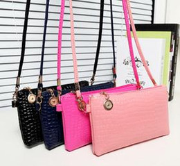 Wholesale Small Clutch Phone - New Elegant Alligattor Pattern Women Shoulder Bag High Quality Leather Lady Cross Body Bag Clutch For Cell Phone Card