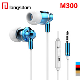 Wholesale Iphone Ear Plugs - New Extrabass power in ear Definition 3.5mm Plug Metal Headphone Headset Langston M300 Metal Earphone with mic iphone 6 Cellphone EAR185