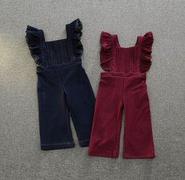 Wholesale Loose Suspenders Girl - 2016 Autumn New Girl Overalls Pants Flare Sleeve Ruffle Cotton One Piece Trousers Children Clothing 2-7T K9473