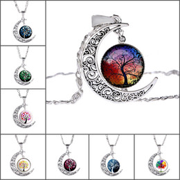 Wholesale Crystal Lucky Tree - Moon Necklace Necklaces Hot Sale Lucky Tree Pendants Silver Chain Necklaces For Women Girl Jewelry Wholesale Free Shipping 0641WH