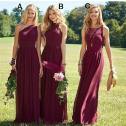 Wholesale Make White Wine - Hot Wine Bridesmaid Dresses 2017 Chiffon A Line Floor Length Beach Wedding Guest Dresses Burgundy Long Maid of Honor Gowns Cheap