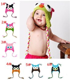 Cappello di lana del bambino online-Cute Baby Hat Beanie Knit per bambini Owl Cartoon Handcraft Crochet Woolen Warm Ears Hats Winter per 6M-3Y Toddler Boys Girls