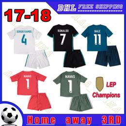 Wholesale Ronaldo Kids Jersey - 2018 Champions kids kits Football Jersey 17-18 Real Madrid Home Away 3RD Boys Soccer Jerseys Ronaldo ASENSIO Bale NAVAS Child Soccer Shirts