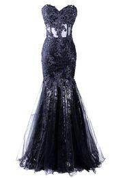 Wholesale Strapless Beaded Pageant - Abendkleider Tulle Sleeveless Dress Formal Pageant 2016 Cheap Sweetheart Long Mermaid Evening Dress Vestido De Festa