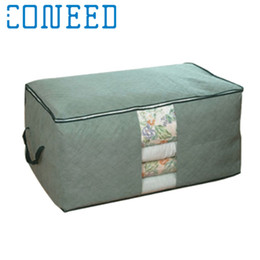 Мешок для хранения одежды из бамбука онлайн-Wholesale- Coneed Bamboo charcoal clothing storage bag Quilt storage case Bedding organizer quality first DROP SHIP
