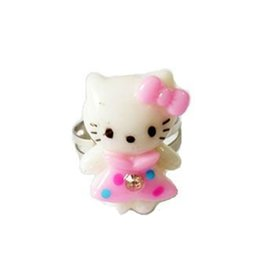 Wholesale Cheap Cute Gift Sets - Wholesale 100Ps lot Free shipping cheap white children's resizable finger lovely cute hello kitty ring rings fashion jewellery JR8