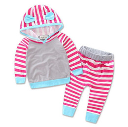 Wholesale Cotton Sweatshirt Baby Yellow - 2016 Autumn Ins Baby Clothing Suits Girls Boys Hooded Cotton Sweatshirt + Striped Pants Kids 2pcs Set Childern's Outfits