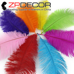 Wholesale Colored Ostrich Feathers Wholesale - ZPDECOR (12inch-14inch)30-35cm Dyed Mix Colored Customized Available Ostrich Feather Plumes for Cheap Prom Dress Wedding Table Decorations