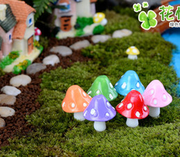 Wholesale Fairy Figurines - 20pcs mushroom miniature fairy figurines garden gnomes decoracion jardin mushroom garden ornaments resin craft Micro Landscape