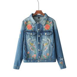 giacca da donna floreale uccello Sconti New Denim Jacket Women Denim Coat Lady Capispalla Floral Birds Ricami Retro Allentato Casaco sfilacciato Top femminile