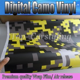 Wholesale Vinyl Wrap Prints - Digital Camouflage Full-Body Wrap Skin Yellow & Black Camo Wrap Vinyl Print Car SUV Real pixel Camouflage air Bubble Free