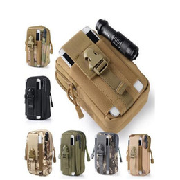 Wholesale Gadget Bags - Tactical Molle EDC Utility Pouch Gadget Belt Waist Bag with Cell Phone Leather Case Outdoor Sports Organizer Bag