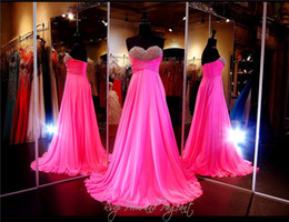Wholesale Bubblegum Pink - Bubblegum Pink Chiffon Prom Dress Or Pageant Dress Sweetheart Mix Beaded Bodice Strapless A-line Evening Dress