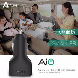 Wholesale Smartphones S3 - Aukey CC-S3 Universal Mini Powerful 24W 4.8A 2 USB Ports Fast Car Charger for iPhone Xiaomi LG G4 Motorola and More Smartphones