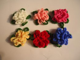 Wholesale Hand Crochet Baby Sweaters - Crochet flower hand woven pattern child hair Knitting flower baby hair bands hats shoe sweater corsage Garment accessories
