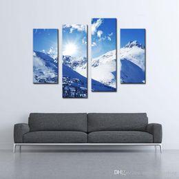Paesaggistica unita online-4 pezzi Modern Canvas Wall Art Painting Sunny Winter Rocky Mountains Landscape In Colorado Stati Uniti Jokul per la decorazione della parete