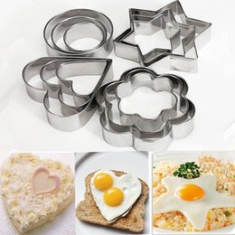 Wholesale Biscuit Moulds - 12Pcs Set Stainless Steel Star Heart Flower Round Cookie Fondant Cake Mould Biscuit Mold Fruit Vegetable Cutter Kitchen Tool