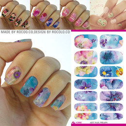 Wholesale Water Decal Nail Paint - Wholesale- K5662 Water Transfer Nail Foil Sticker Art Painting Chinese Ink Paiting Flowers Nail Wraps Sticker Manicure Decor Decals