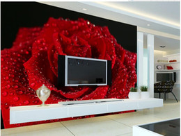Wholesale Red Floral Wall Paper - 3d customized wallpaper Beautiful romantic with water droplets red roses TV background wall customized wallpaper for walls