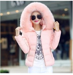 Wholesale Ovo Jacket - 2016 winter new feather padded short paragraph Slim ovo collar big yards thick hooded coat Women winter jacket