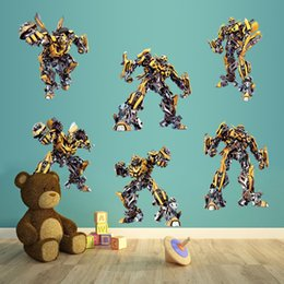 Wholesale Transformer Wall Stickers - Cartoon Home Decor Robot Transformer Brinquedos bumblebee child wall stickers nursery decor Kids Viny Art Mural Home Decal Kids Room Decor