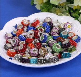 Wholesale Pink Resin Beads Fit Bracelet - Wholesale Silver Plated Beads Fit European Bracelets Resin Rhinestones Assorted Shamballa Beads for Charm Bracelets Necklace Sale