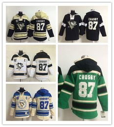 Wholesale Pittsburgh Embroidery - Men's Ice hockey jerseys Fleece Hoodie Pittsburgh penguins #87 Crosby Free shipping The Hi-Q traditional embroidery