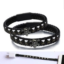 Wholesale Accessories Import - Leather Imported From Spain USB Date Line USB Charge Line Bracelet Portable Decorated For Android And Smart Phones and Trendy 3C Accessories
