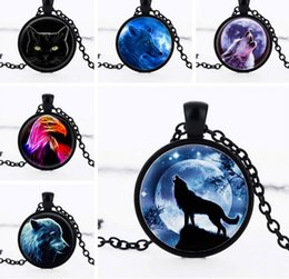 Wholesale Universe Black - 10Pcs Lot Necklaces European and American Wolf Totem Universe Gemstone Pendant Necklaces Mix Style 2016 July Style