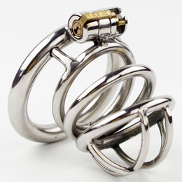 Wholesale Chastity Belts Restraints - Stainless Steel Male Chastity Belt with New Style Lock Men Penis Restraint Locking Cage