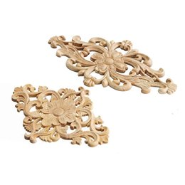 Wholesale furniture carvings - Wholesale- Modern Flower Pattern Wood Carved Unpainted Wood Oak Carved Round Onlay Applique Plaques Furniture Home Decoration Two Size
