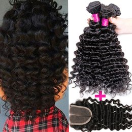 Wholesale Indian Deep Curly Hair - Brazilian Deep Wave Hair Weave 3Bundles With Closure 7A Unprocessed Peruvian Malaysian Brazilian Virgin Hair Deep Curly Wavy hair Extension