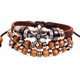 Wholesale Tribal Bracelets For Men - Top selling retro Anchor Vintage Leather Charm Bracelet Tribal Wrap Wristband For Men Women Rope braided brown bracelets wholesale