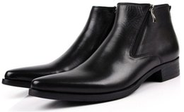 Wholesale Zipper Shoes For Men - 2016 Fashion Cool British Black   Brown Zipper Genuine Leather Mens Boots Pointed Toe Man Dress Short Boot Shoes for Gentlemen