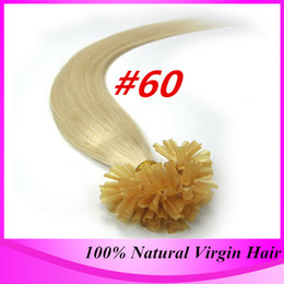 Wholesale Remy Stick Tip Hair Extensions - 1g s 100g Human Remy Hair #60 Light Blonde Straight Custom Capsule Prebonded Keratin Stick U tip Human Hair Extensions