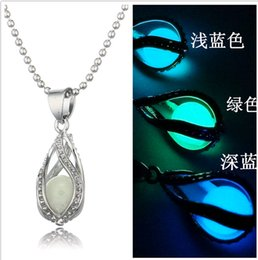 Wholesale Glow Dark Crystals - Waterdrop Glow Pendant Lockets Luminous Ball Bead Chain Hollow Out European and American Atlantis Glow In Dark Chocker Necklaces 3colors