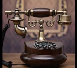 2019 telefono ufficio d'epoca Telefoni di bella linea fissa Telefono d'epoca in legno massello Macchina fissa stazionaria creativa di vecchio stile di ufficio dell'ufficio dell'annata d'annata sconti telefono ufficio d'epoca