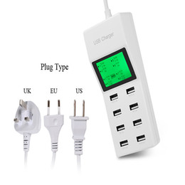 Wholesale Ac Extension - New 8Port Portable SMART USB Hub Wall Charger AC Power Adapter EU US Plug Slots Charging Extension Socket Outlet With Switcher 2017