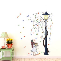 Wholesale Tree Life Wall Sticker - Creative Character Wall Stickers Living Room Bedroom Passageway Dormitory Entryway Decor Stickers Girl With Car Under Lights Under The Tree