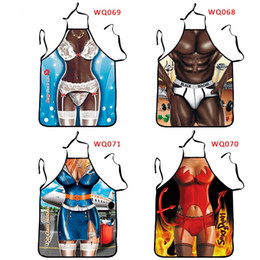 Wholesale Personalized Aprons - 3D Digital Printing Personalized Stewardess Sexy Beauty Muscle Man Fun Creative Home Apron