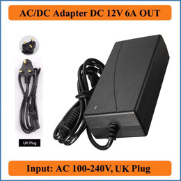 Wholesale Cctv Monitors Uk - 12V 6A UK Plug AC DC Adapters AC100-240V to DC 12V Power Supply Charger 5.5mmx2.1mm for LED strip light LCD Monitor CCTV Camera