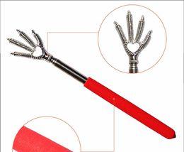 Wholesale Telescopic Kit - 2016 New Practical Handy Stainless Pen Clip Back Scratcher Telescopic Pocket Scratching Massage Kit Bear claw back scratcher 10pcs