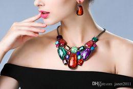 Wholesale Chunky Chain Link Earrings - Womens Jewelry Sets Metal Geometric Fake Gemstone Red ,Multi Color Choker Chunky Statement Pendant Bib Necklace Earring Jewelry Set