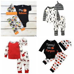 Wholesale Clothing Caps - Baby Halloween Outfits Pumpkin Christmas Clothing Sets Kids Deer Print Suits Xmas Ins Romper Pants Hats Cotton Jumpsuit Caps Trousers B2841