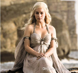 Wholesale Women Xxl Chiffon - Halloween Costumes Game Of Thrones Cosplay Daenerys Targaryen Halter Dresses for Women Khaleesi Dragon Queen Elegant Off Shoulder Dress